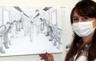 Coronayı yenen hemşire Burçak İlbeyi sağlıkçılar için çizdi