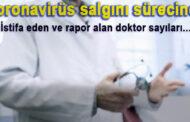 Koronavirüs salgını süresince istifa eden ve rapor alan doktor sayıları